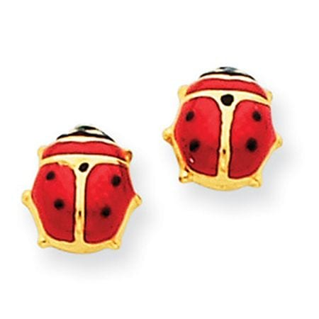 14 karat yellow gold enameled lady bug earrings.