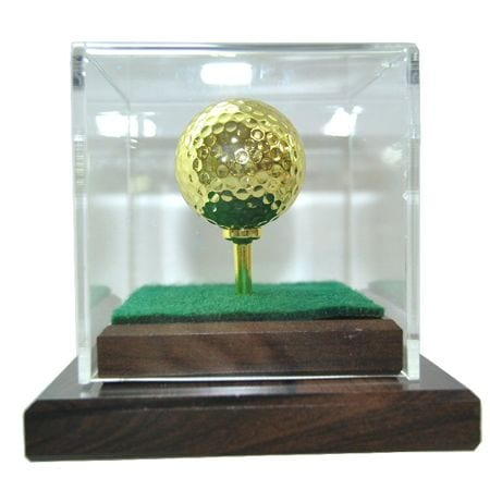 24 karat gold plated golf ball and golf tee-both playable with display case.