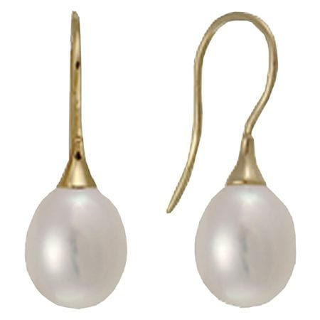 9mm freshwater pearl earrings dangling from 14 karat yellow gold ear wire.