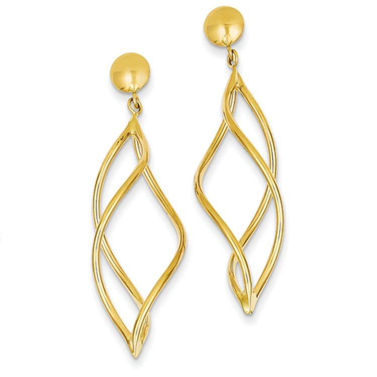 Curved Tube Dangle Earrings in 14 Karat Gold