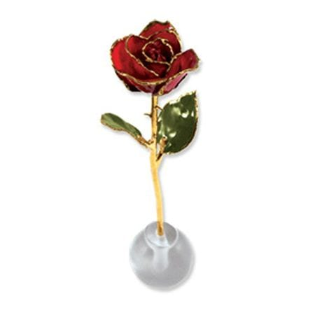 Gorgeous natural red rose that has been eternally preserved by being dipped in laquer and plated with 24 karat gold. Acrylic stand included.