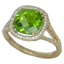 Peridot Ring with 1/10 cttw diamonds