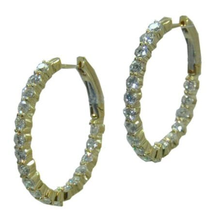 Yellow Gold Oval Diamond Hoops