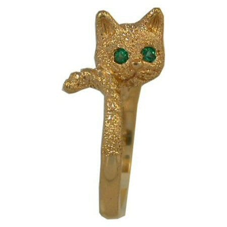 Cat in Yellow Gold with Emerald Eyes