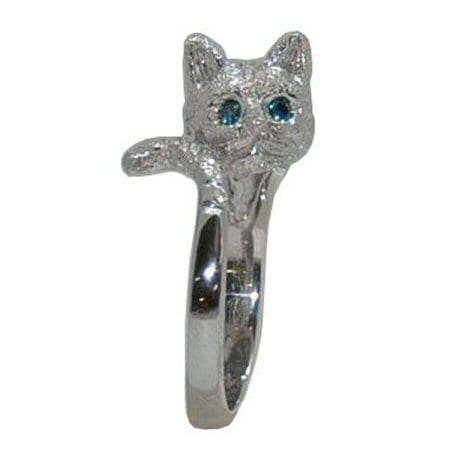 Cat Ring in White Gold