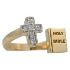 Cross and Bible Ring in Yellow Gold