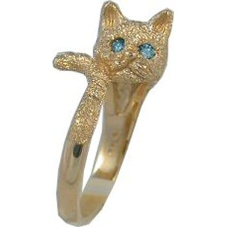 Cat in Yellow Gold with Blue Diamond Eyes