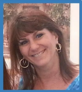 Karen in blue frame