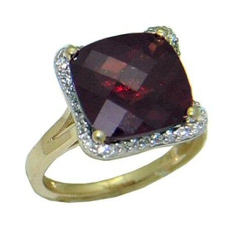 goldinart 187 garnet ring with 0 13 cttw diamonds