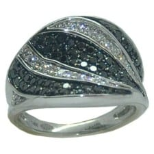 1 cttw. Black and white diamond ring