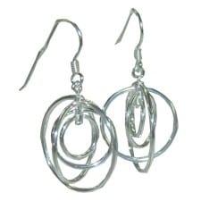 5 circle silver earrings