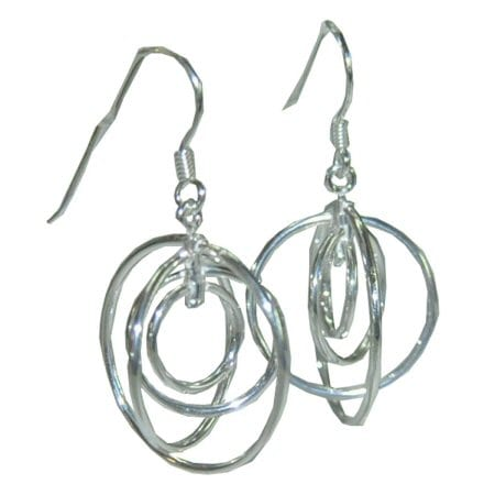 5 circle silver earrings
