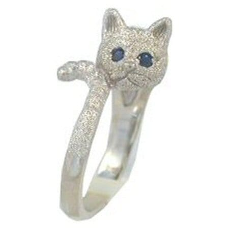 Cat in White Gold with Sapphire Eyes