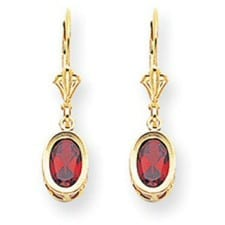 Oval Garnet Leverback Earrings