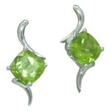 Peridot Earrings in White Gold