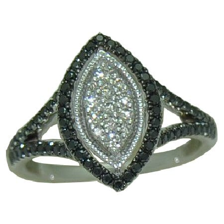 0.53 cttw. black & white diamond ring
