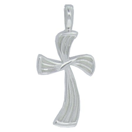 wavy cross pendant in ss