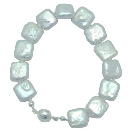 square coin pearl bracelet