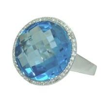 Blue Topaz Ring in 14 Karat White Gold