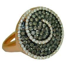 choc & white diamond ring in 14 k rose