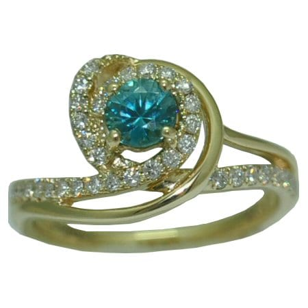 Blue Zircon Ring with 0.31 cttw. Diamonds