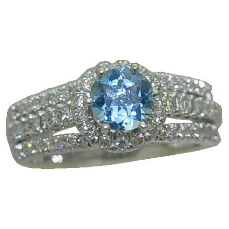 Aquamarine Ring with .064 cttw. Diamonds
