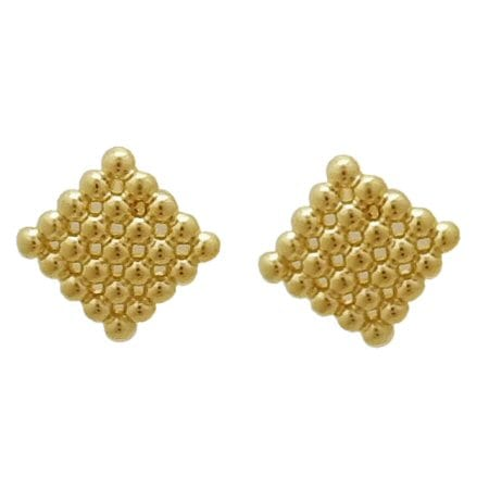 beaded square post earrings