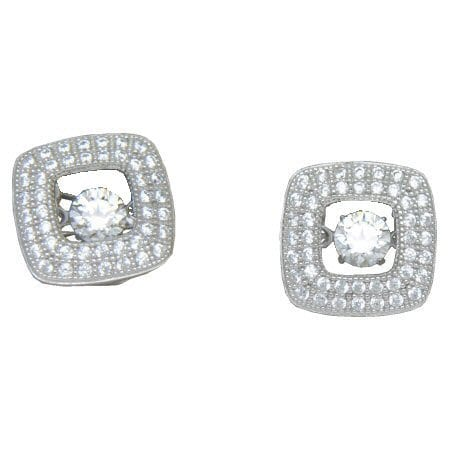square halo crystal earrings