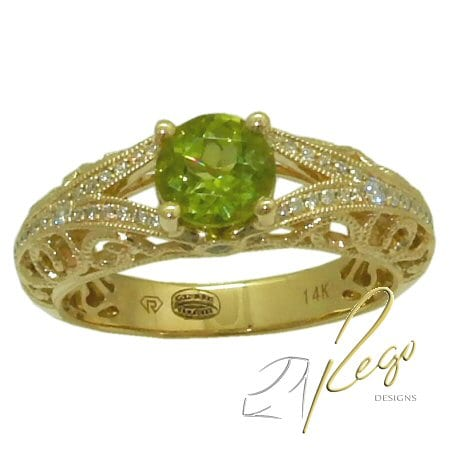 Peridot ring with 0.20 cttw. diamonds