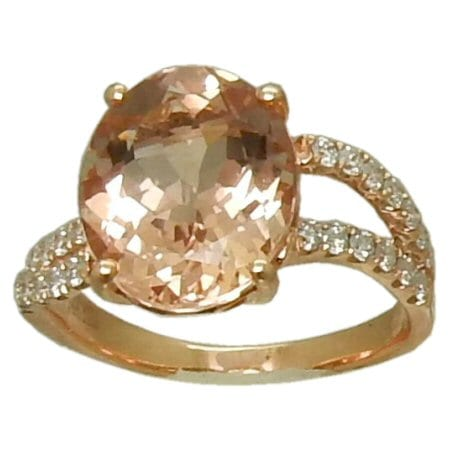 Morganite Ring with 0.39 cttw. Diamonds