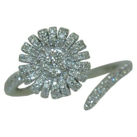 0.57 cttw. Open Flower Diamond Ring