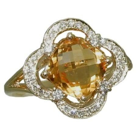 goldinart 187 citrine ring with 0 26 cttw diamonds