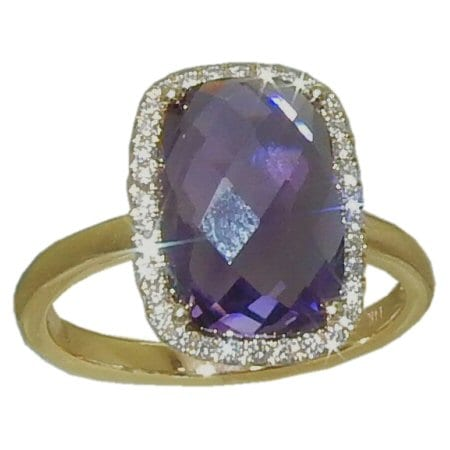 Amethyst Ring with 0.18 cttw. Diamonds