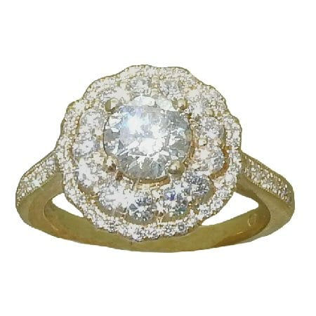 Double Scalloped Halo Diamond Ring