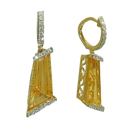 Citrine with Diamond Leverbacks Earrings