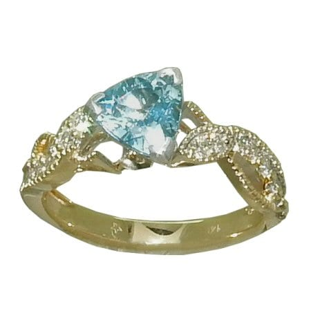 trillion Aquamarine Ring with Diamonds