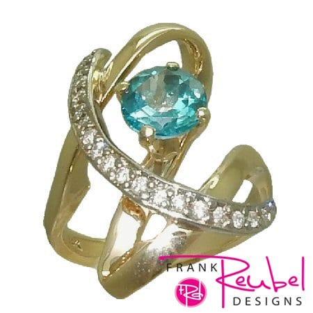 Caribbean Blue Topaz Freeform Ring