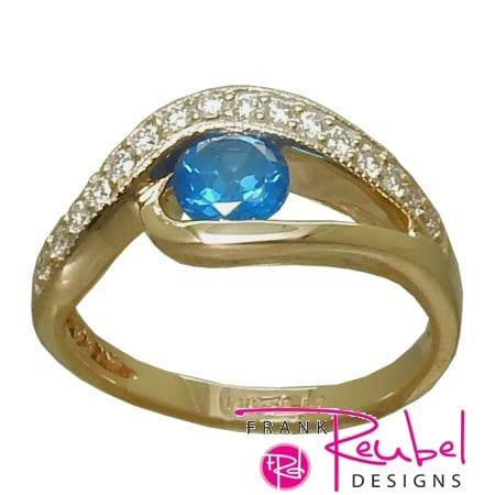lue Topaz Ring (Kashmir Blue) with 0.16 Cttw. Diamonds
