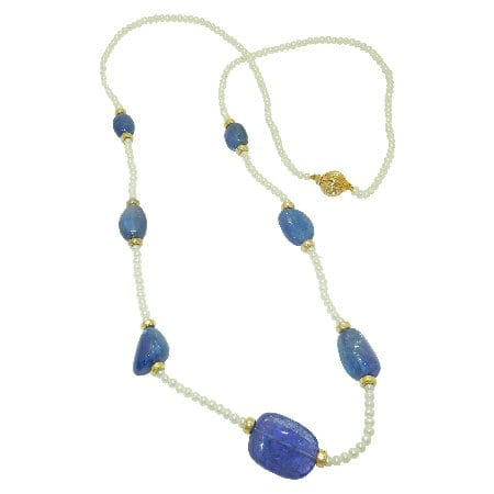 Pearl Necklace with Tanzanites