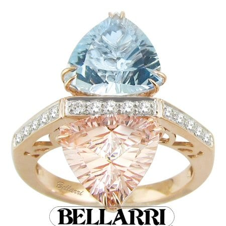 Aquamarine and Morganite Ring in 14 karat rose gold