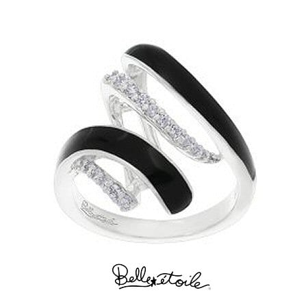 """Black """"Aria"""" Ring in Sterling Silver by Belle Etoile"""