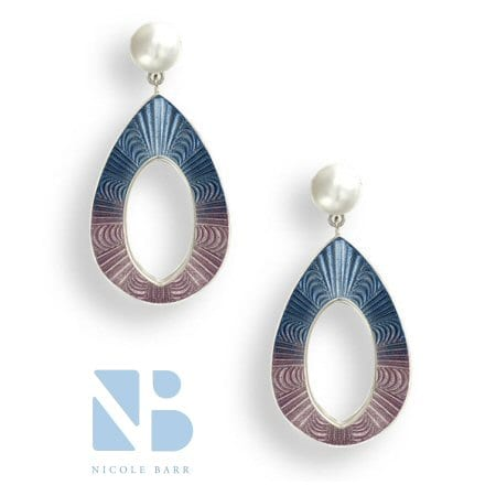 Pearl Earring with a Blue and Lavender Teardrop by Nicole Barr