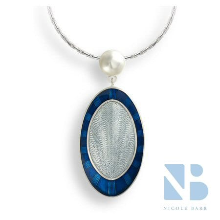 Pearl Necklace with a Blue and Gray Drop in Sterling Silver by Nicole Barr