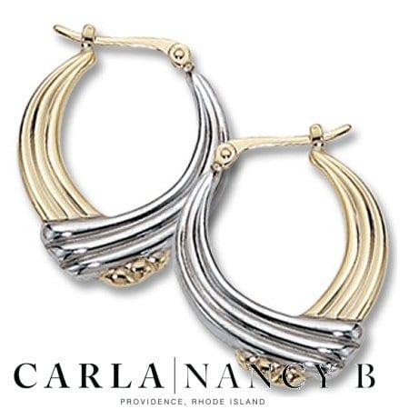 Fancy Round Ribbed Hoop Earrings