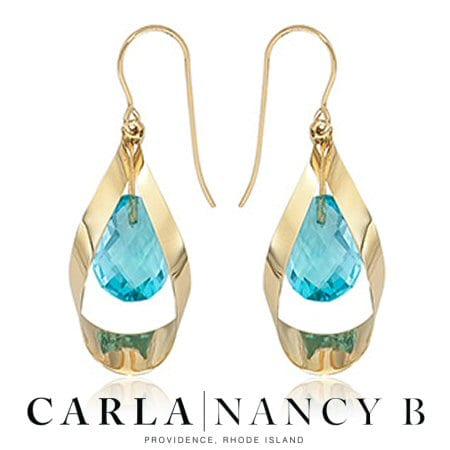 Blue Topaz Earrings with Gold Ribbon in 14 karat yellow gold