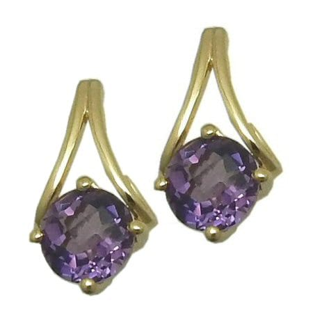 round amethyst in gold Y- post earrings