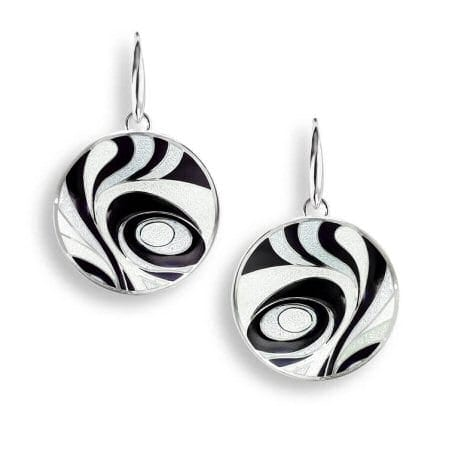 Abstract Enamel Round Wire Earrings in Sterling Silver