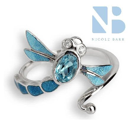 Dragonfly Ring with Blue Topaz in Sterling Silver by Nicole Barr
