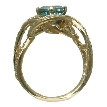 Blue Topaz Ring (Caribbean) with 0.84 cttw. Diamonds