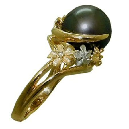 Pearl Ring (Tahitian) in 18 Karat Yellow and White Gold.